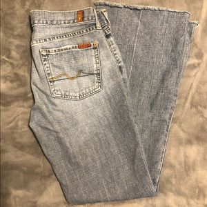 7 For All Mankind Distressed Jeans, Raw Edge.